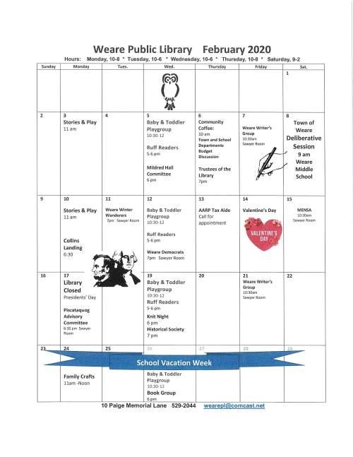 feb2020 calendar